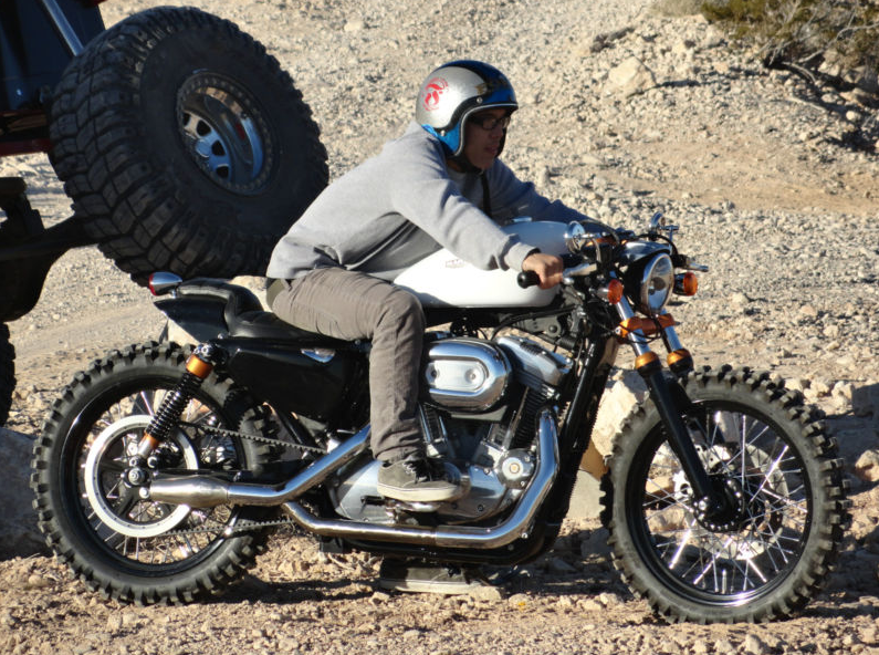 aggressive, off-road style 2007 harley davidson sportster 883 cafe