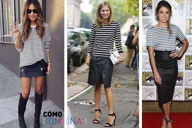 1f7afb4be Cómo combinar falda de cuero con rayas | Faldas | Faldas, Combinar ...