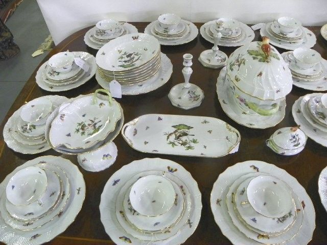 \ Rothschild Bird\  Herend China dinnerware set $3750 & Rothschild Bird\