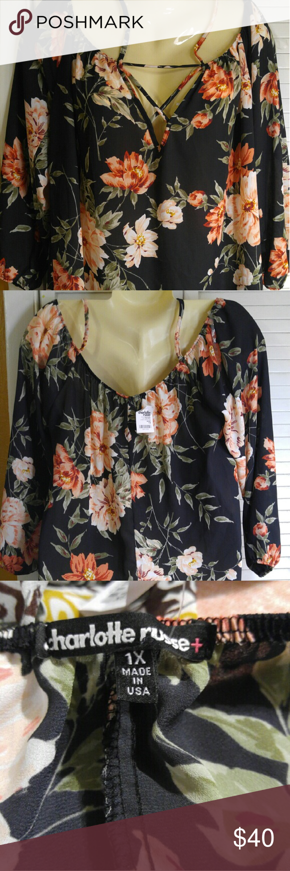 New With Tags Charlotte Russe Floral Blouse Beautiful Floral Top by Charlotte Russe.  Drawstring front that moves up shoulder and acts as shoulder straps.  Sleeves are 3/4 length with elastic around sleeves.  Shirt hem is rounded. Charlotte Russe Tops Blouses