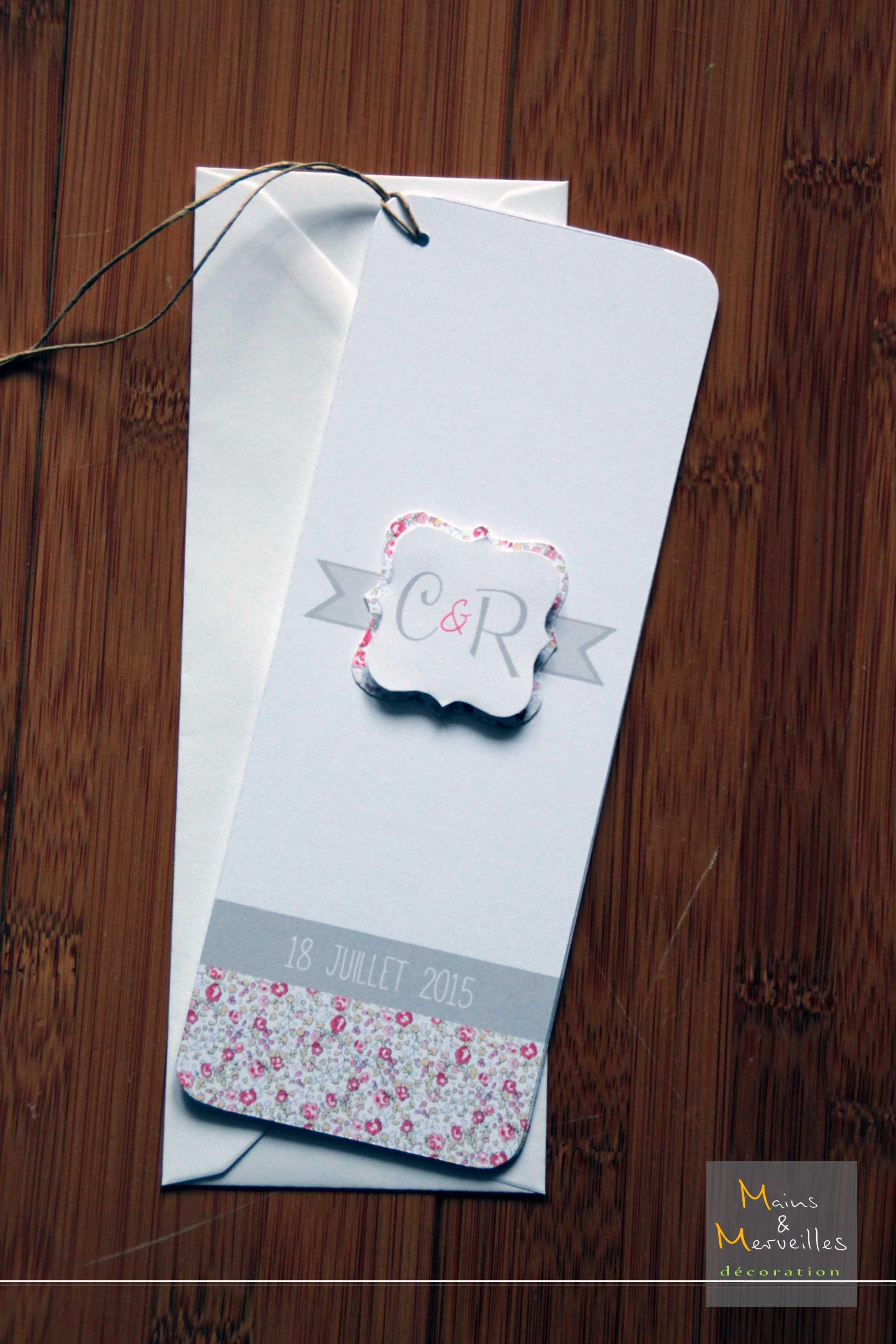 faire part mariage format marque page th me liberty r tro et style letterpress du rose gris. Black Bedroom Furniture Sets. Home Design Ideas
