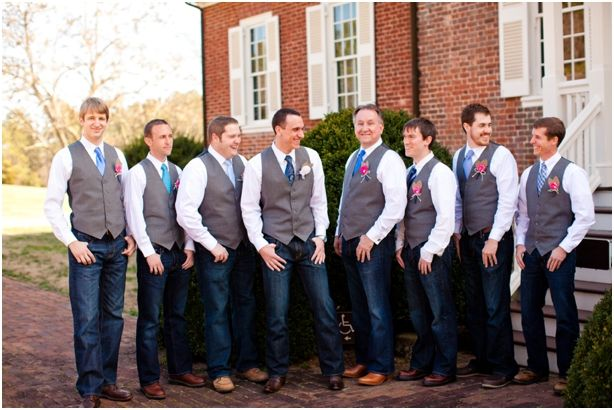Still Being Molly Cowboy Themed Country Wedding Photographed By Katelyn James Photography Groomsmen In Jeanscasual Attirecowboy