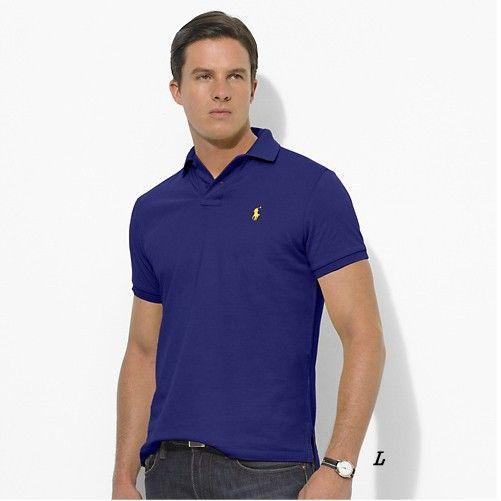 Ralph Lauren Men's Custom-Fit Stretch-Mesh Short Sleeve Polo Shirt Dark Blue  http