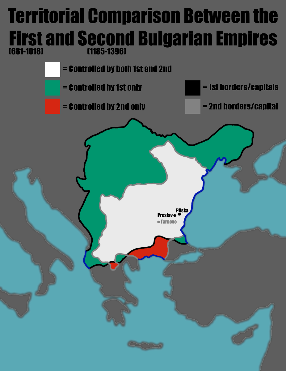 Bulgaria On Map Of World.Territorial Comparison Between First And Second Bulgarian Empires