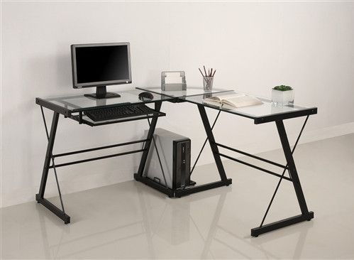 Modern Black Clear Glass L Shaped Desk With Keyboard Tray Escritorio De Vidrio Escritorio De Cristal Muebles De Oficina En Casa