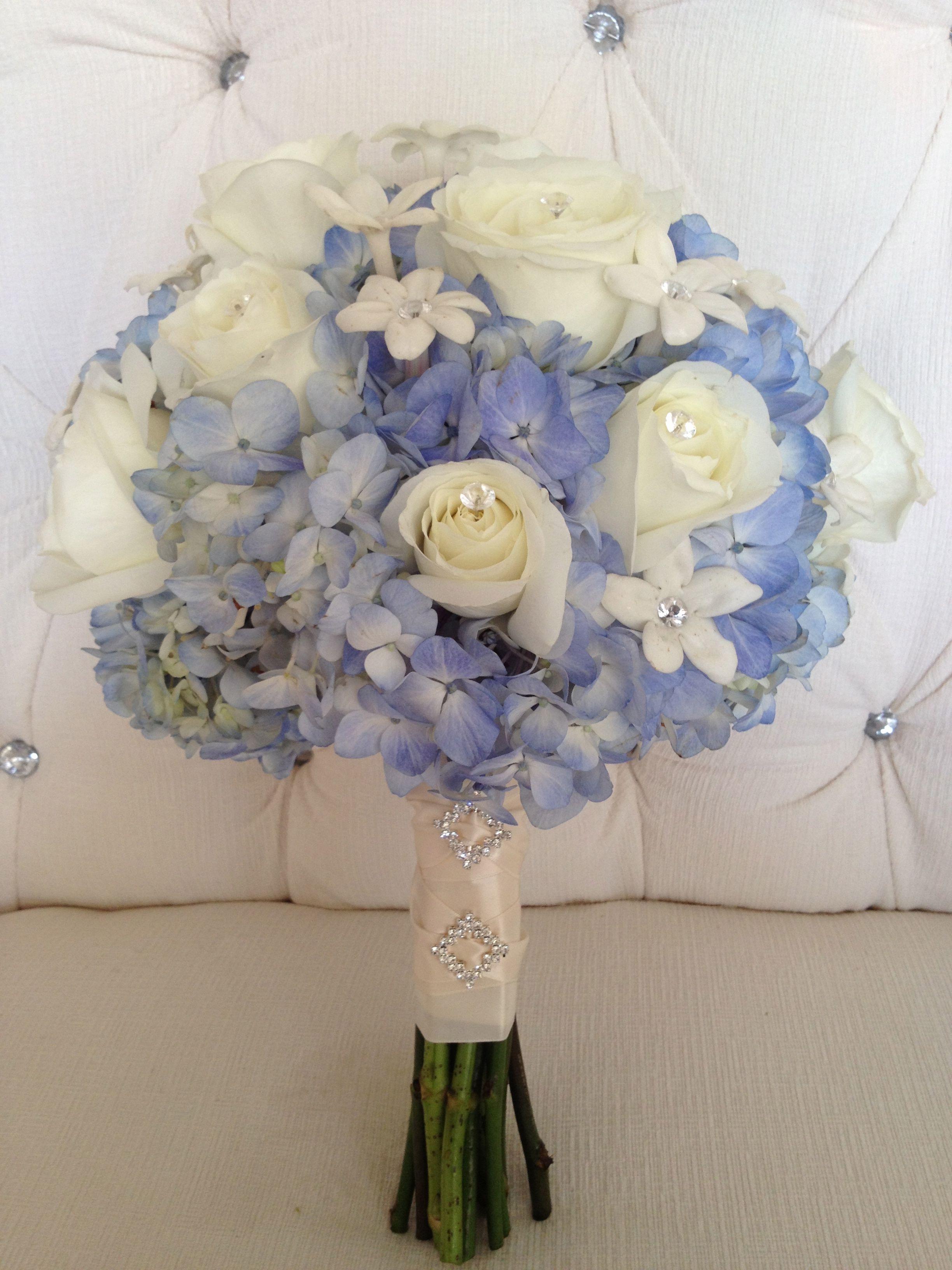 Full Blue Hydrangea With Giant White Roses And Rhinestone Centered Stephanotis Bridal Bouquet