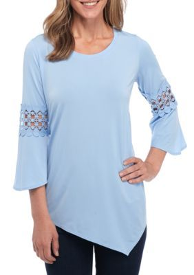 New Directions Women's Three-Quarter Flare Sleeve Top With Crochet Trim - Wintry Blue - Xl