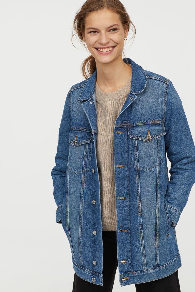 Long Denim Jacket Light Denim Blue Trashed Ladies H M Us Long Denim Jacket Denim Jacket Women Coats Jackets Women [ 1152 x 768 Pixel ]