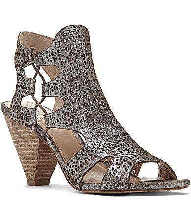 6f2fbfdefa3 Vince Camuto Eadon Metallic Lasercut Suede PeepToe Sandals  Dillards