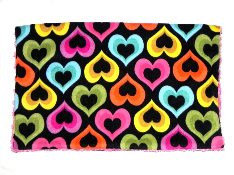 Baby blanket rainbow hearts fleece fabric pink swirl minky