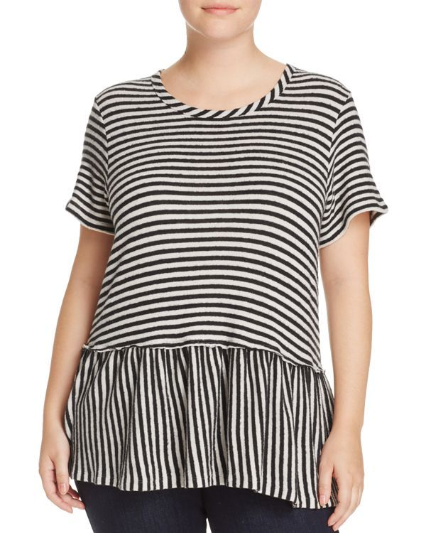 B Collection by Bobeau Curvy Jasey Stripe Peplum Top | Products ...