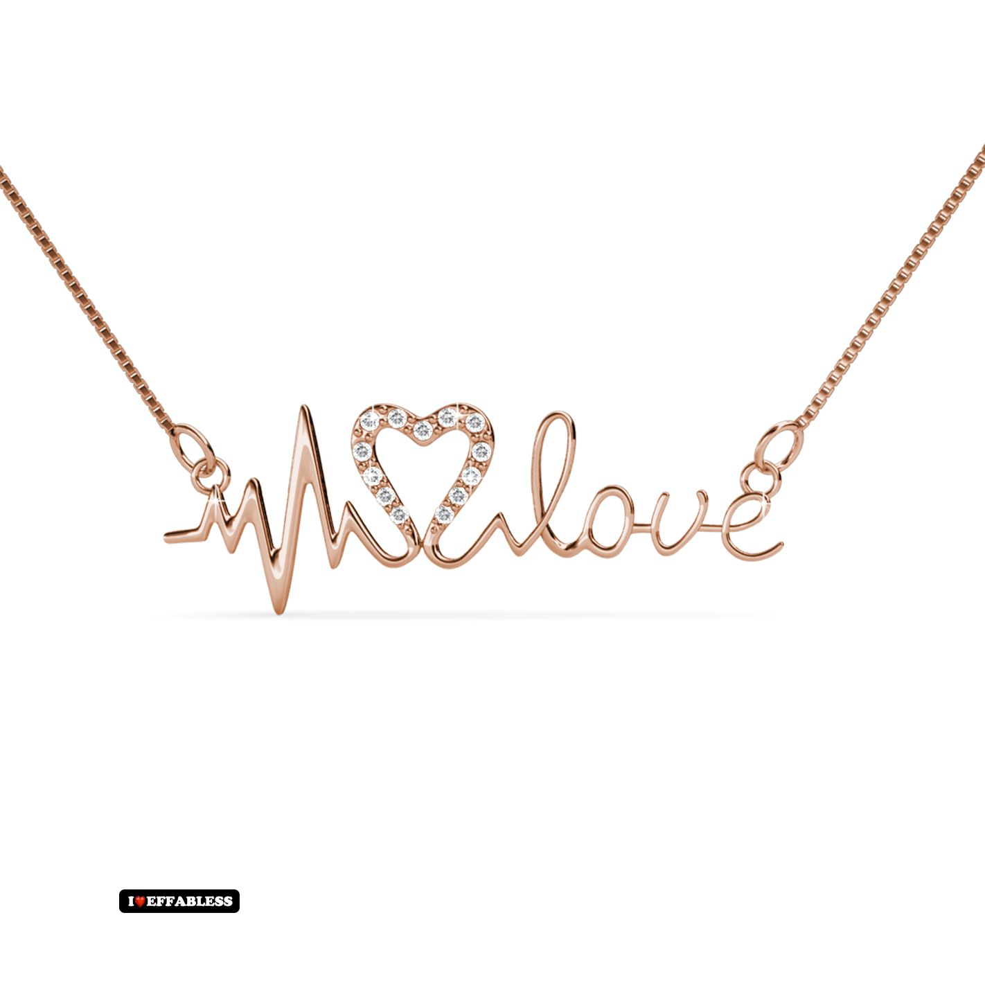 The design of this heartbeat and love necklace is beautiful