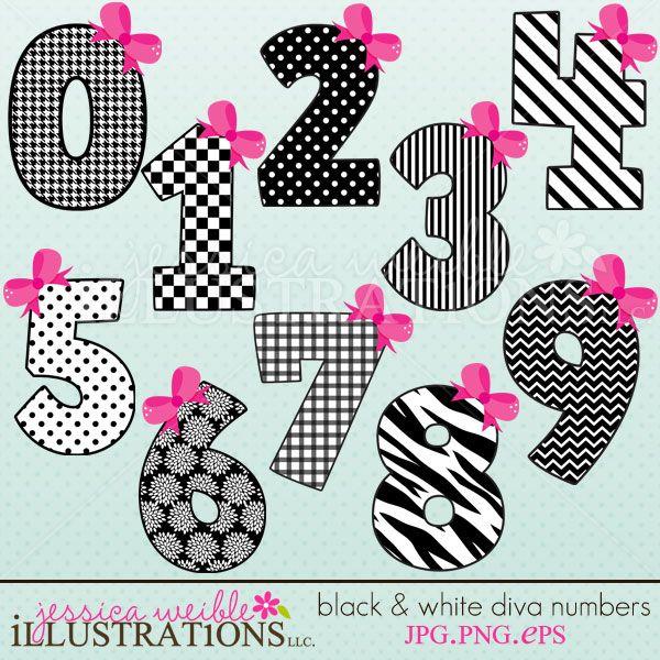Black White Diva Numbers Cliparts Mygrafico Com Clip Art