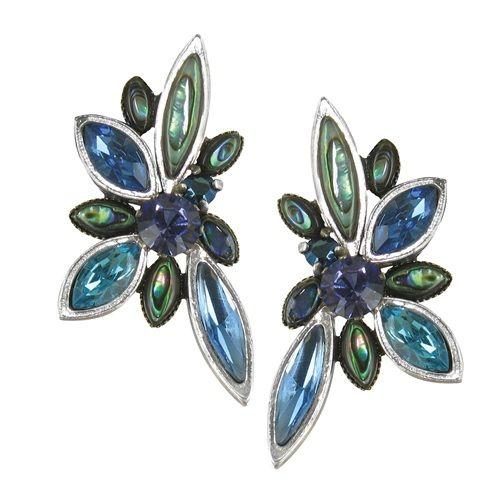 【フランク エルヴァル】ファイアーフライシリーズ イヤリングスワロフスキーとパウア貝でブルー系に彩られ気品高いイヤリングです。耳元をハイセンスに飾ってくれる心地よい逸品です。 10P01Mar15