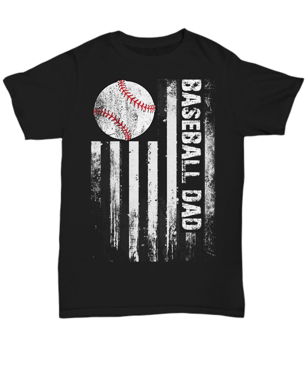 Baseball Shirt Baseball DAD American Flag distressed tee
