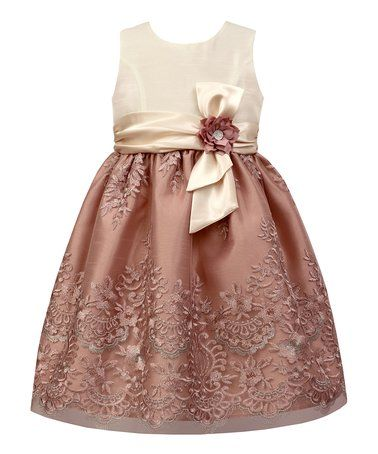 bae2cfdcfc906 Another great find on #zulily! Mauve & Ivory Lace-Overlay A-Line Dress -  Toddler & Girls #zulilyfinds