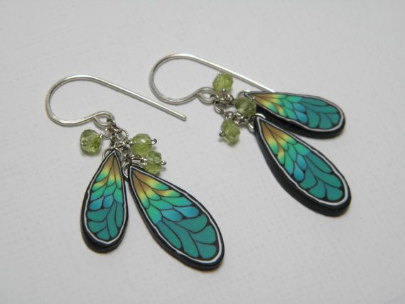 Dragonfly Wing Polymer Clay Millefiori Dangle Earrings with Peridot Gemstone…