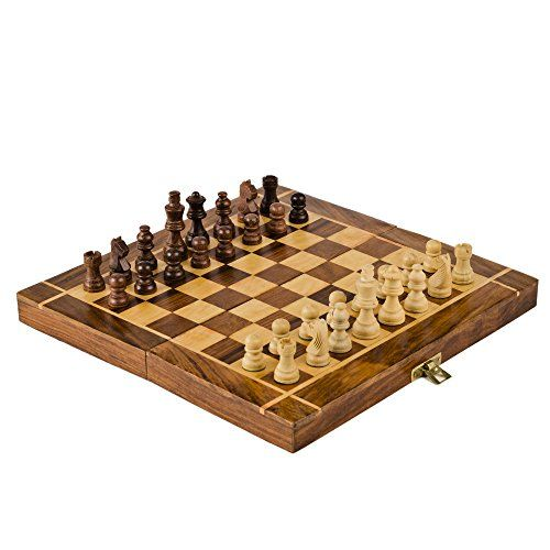 Rusticity Wood Magnetic Chess Set With Folding Board And Chess