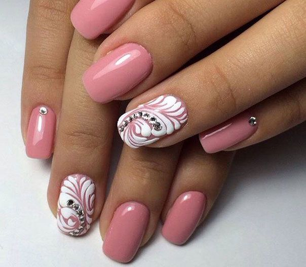 Two Colors Nail Art Pink And White Nails With Rhinestone