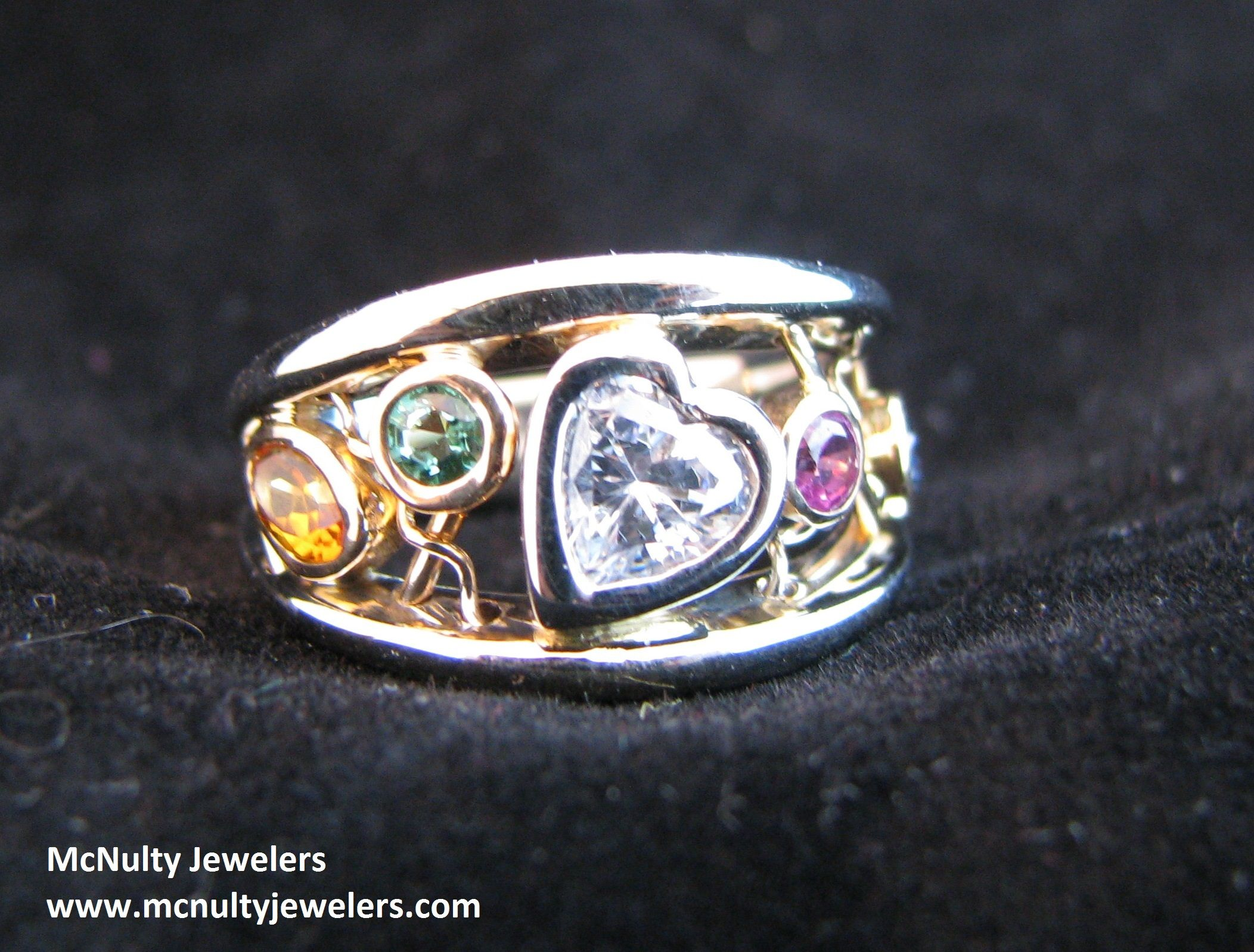 A Unique Way To Show Off Your Family Birthstones Two Tone