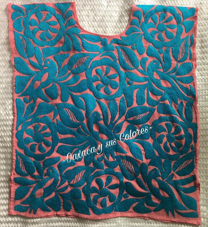 Flores y aves bordadas a mano por artesana de Jalapa de Díaz🌸 Rayón ... 538407f2653ea