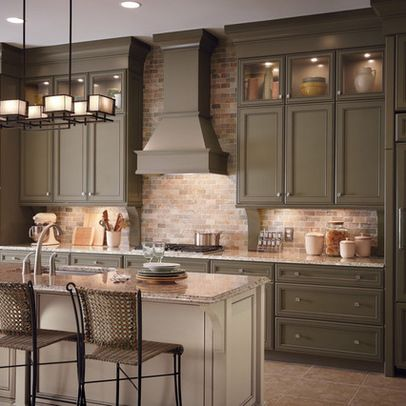 olivey taupe with brick and white glazed island! | Kitchen Lovin ...