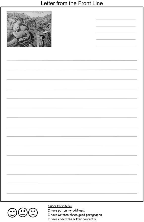 A Letter Home  Template For Children To Write A Letter Home From