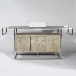 meuble salle de bain bois et inox