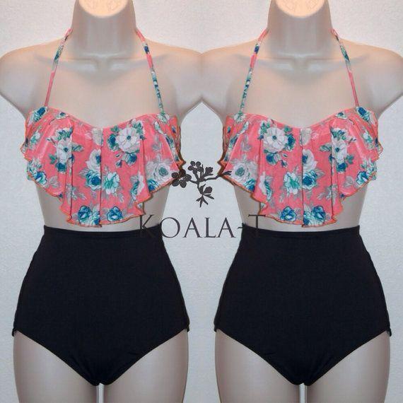 286432d9a7b03 Coral Floral Print Flounce Top Black High Waist #Bikini!   My ...