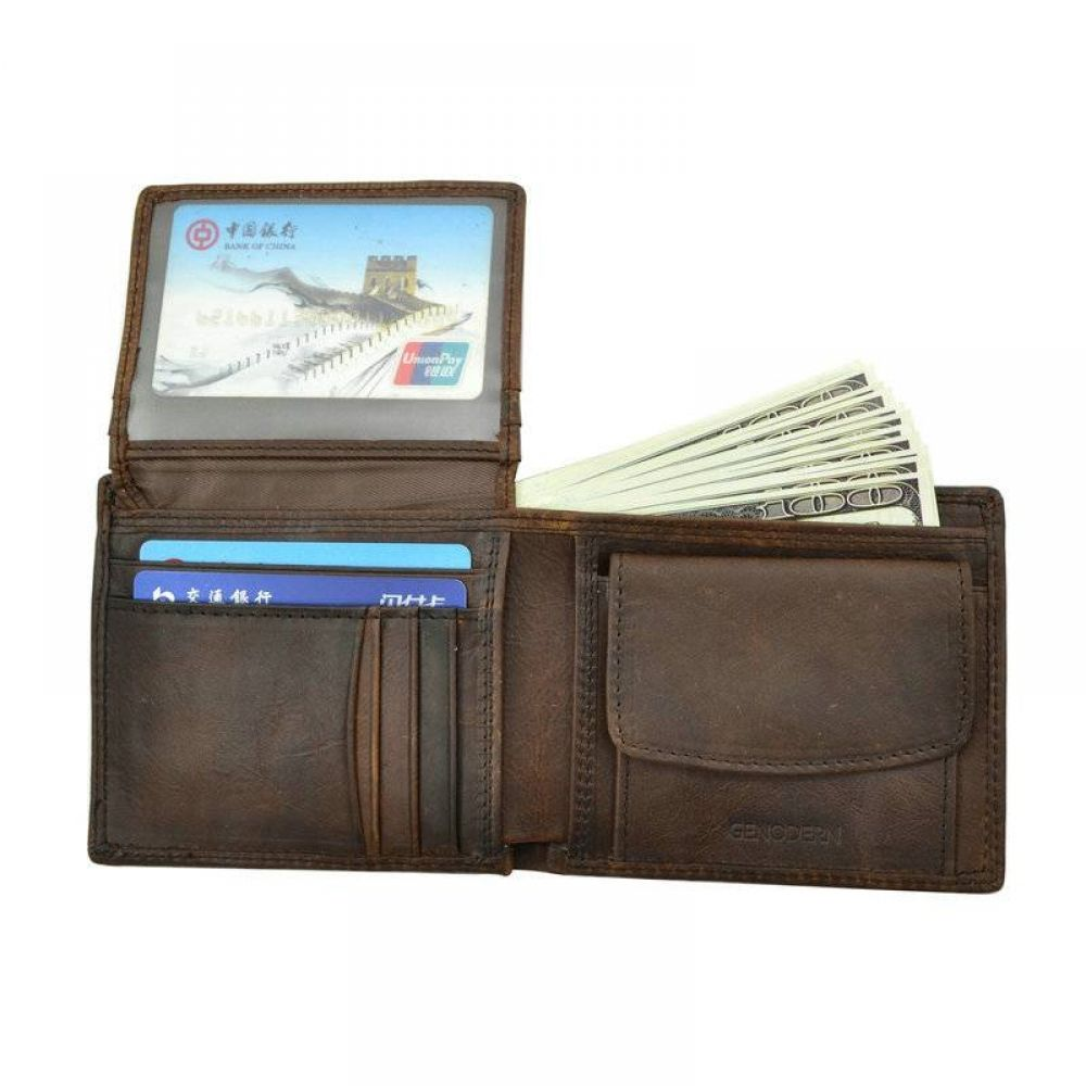 MONT BLANC Wallet Cow Leather Men Short  Casual Genuine with Credit Card Holder