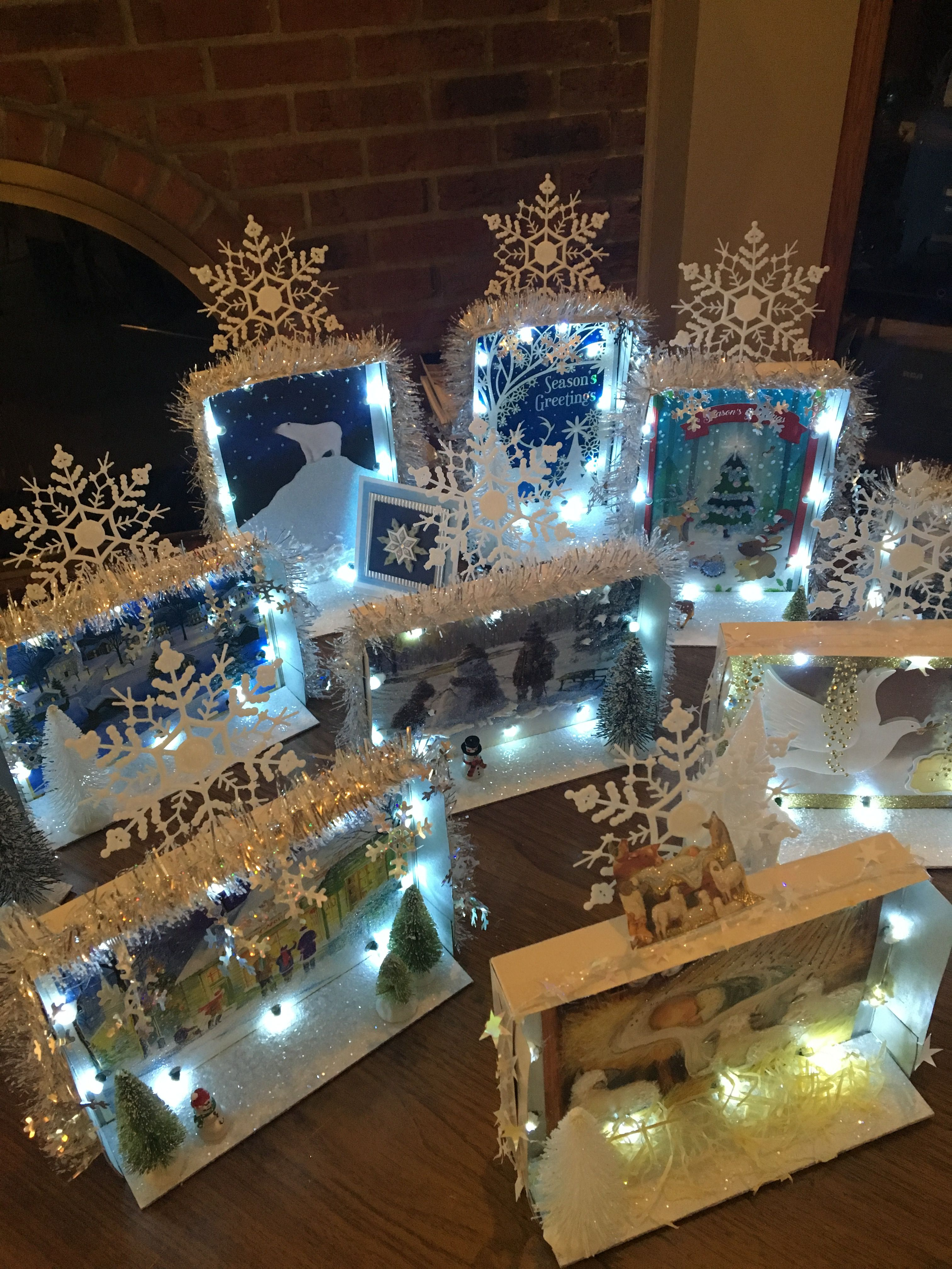 Christmas Card Shadow Boxes All Made With Dollar Store Items
