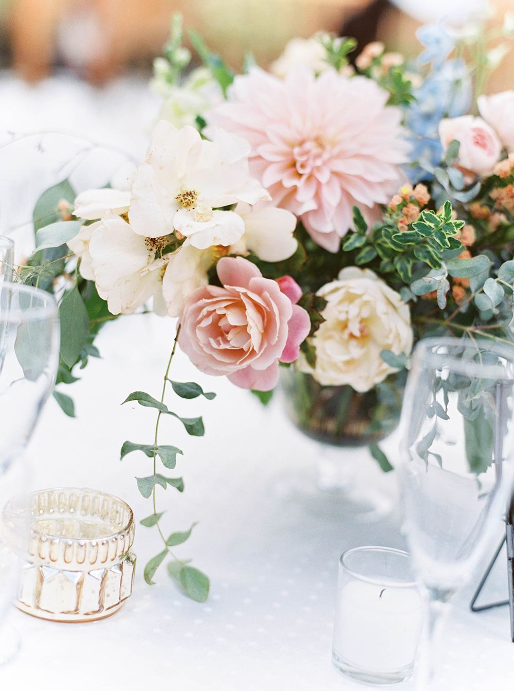 centerpieces with dahlias - photo by Maria Lamb Photography http ...