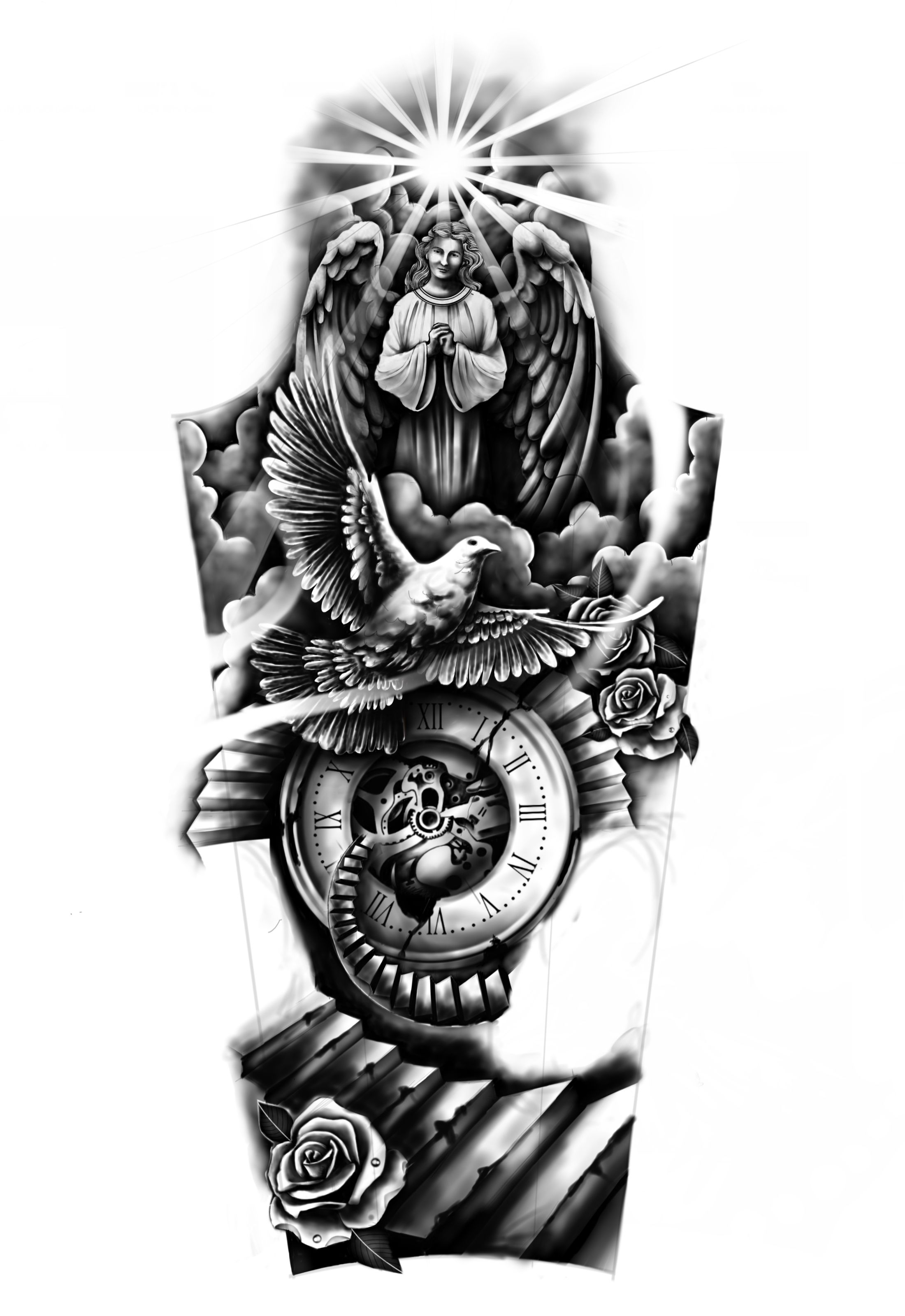 Memorial for Daughter full sleeve tattoo Personal Design Created By Michael Custom Tattoo | Designhill