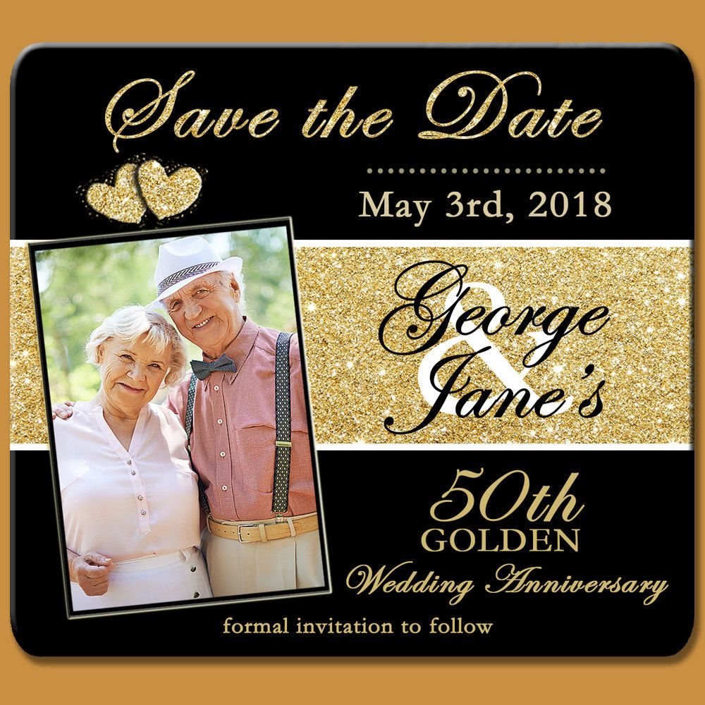 50th Save the Date, Golden Anniversary Save the Date Magnet, Golden ...
