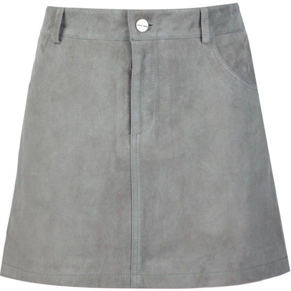 Anine Bing suede skirt (2.200 BRL) ❤ liked on Polyvore featuring skirts, bottoms, grey, grey skirt, anine bing, gray skirt, suede skirt and suede leather skirt