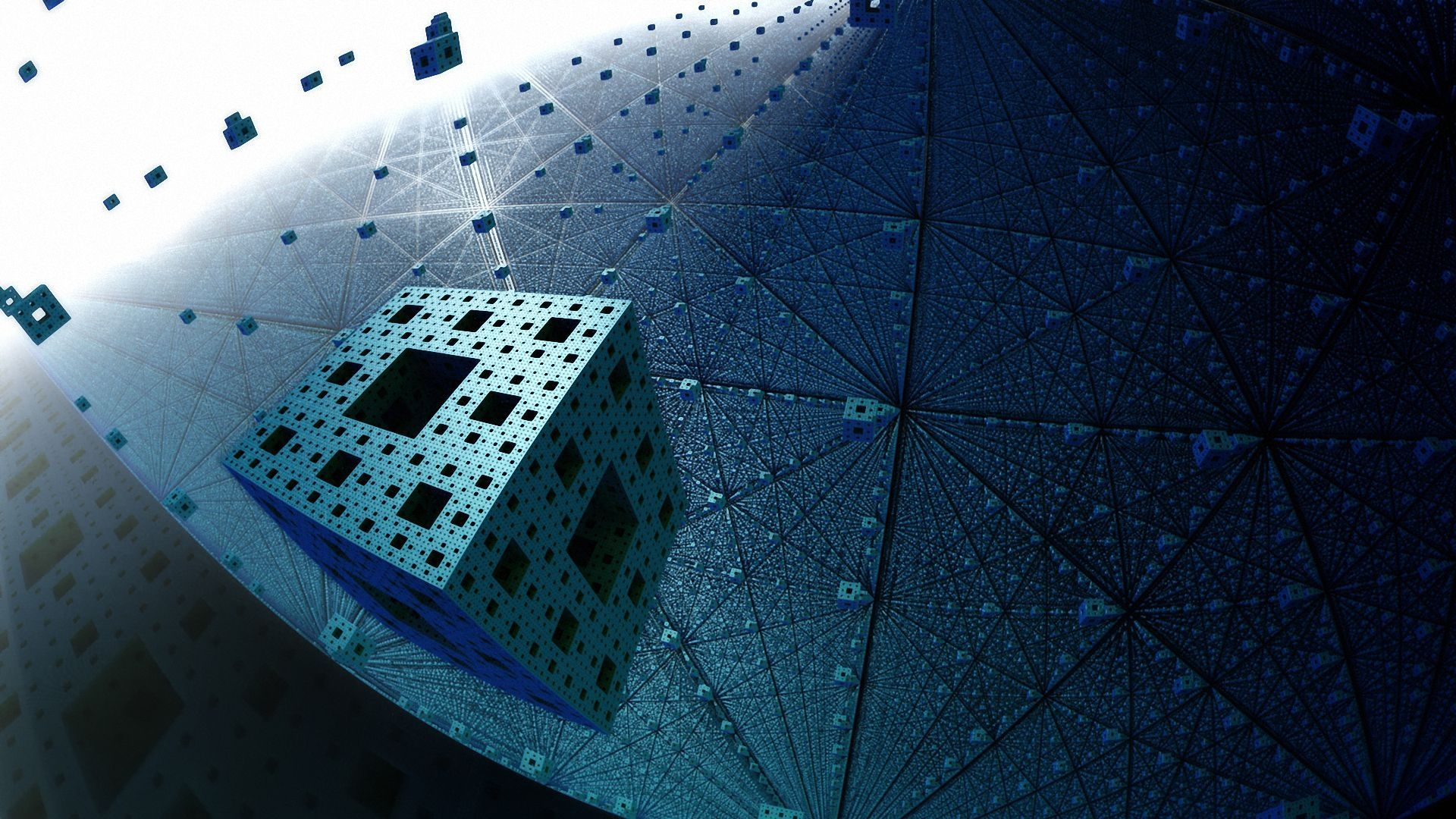Download Wallpaper Fractal Menger sponge Flight Full HD