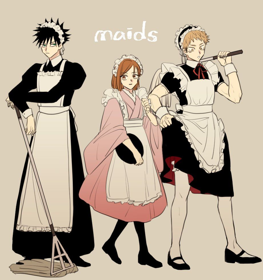 Meme On Twitter Jujutsu Boys In Skirts Maid Outfit