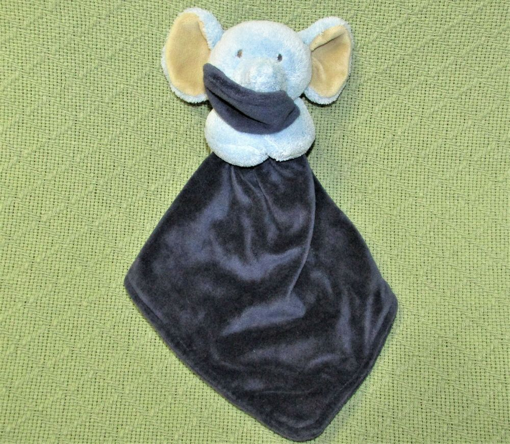 CARTERS ELEPHANT RATTLE SECURITY BLANKET NAVY BLUE BABY PLUSH STUFFED ANIMAL 12 #Carters #securityblankets