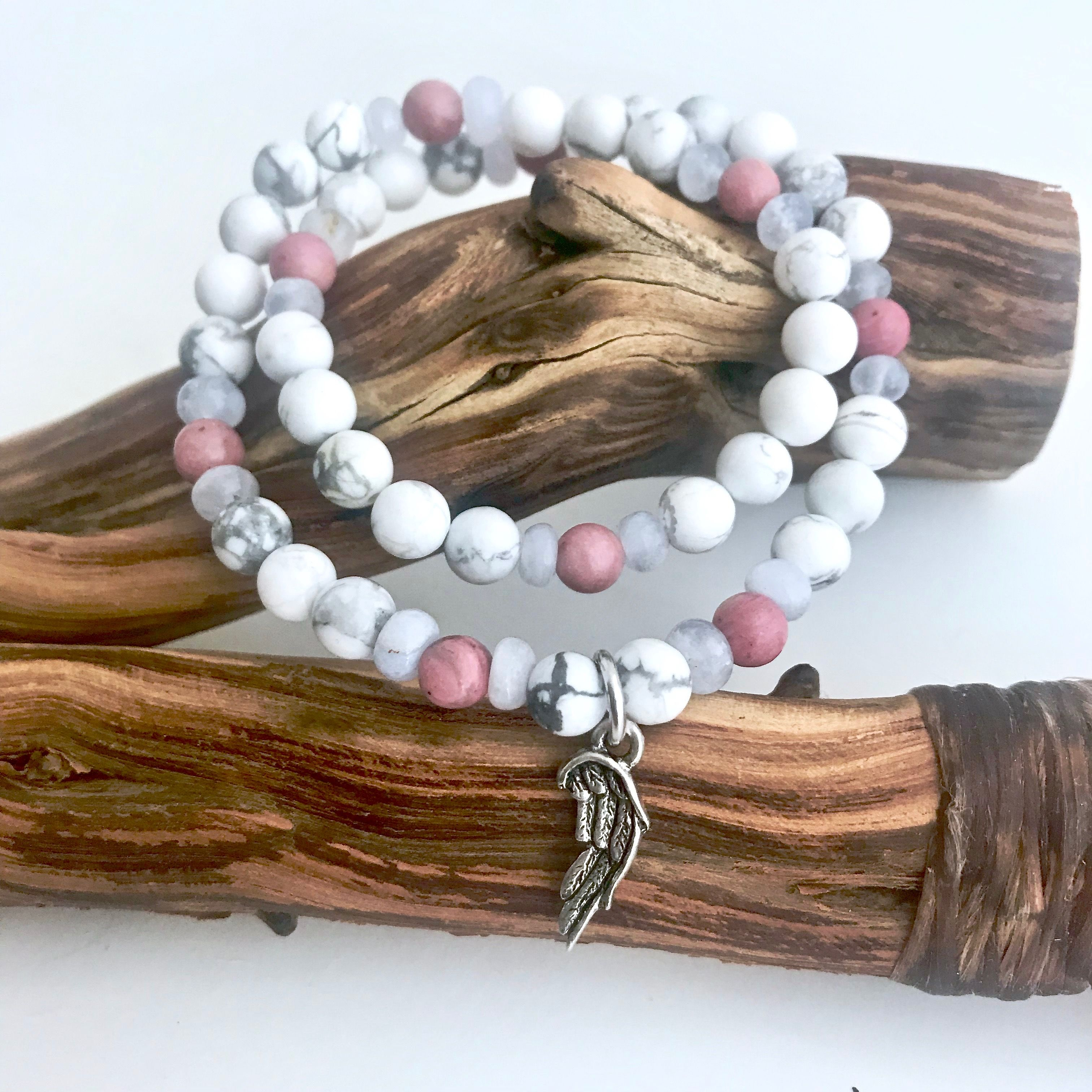 Blue Lace Agate, Rhodonite and Howlite Healing Crystal Double Wrap Bracelet with Angel Wing Handmade by Soul Sisters Designs