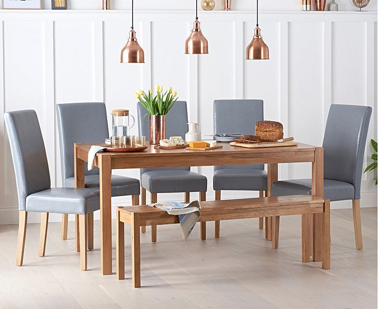 Oxford 150cm Solid Oak Dining Table With Benches And Albany Chairs Solid Oak Dining Table Oak Dining Table Dining Table With Bench