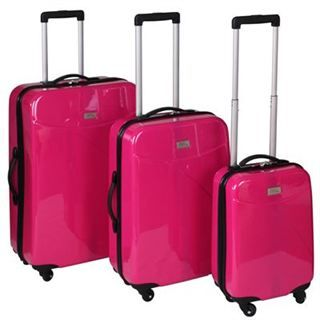 Girly Suitcase Set. Pink Hard Shell, Including 18inch Cabin ...