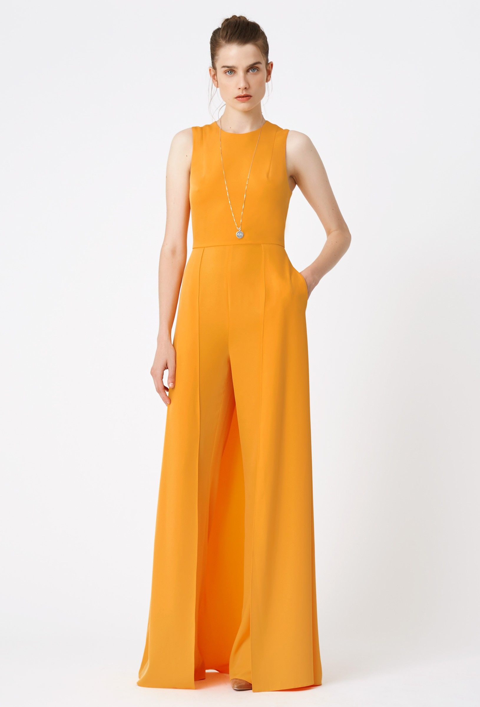 e25224fa7cc5 Image 3 of AQ AQ Warp Wide Leg Jumpsuit · Orange
