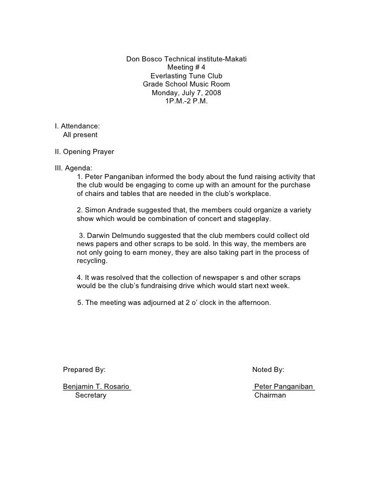 Sample Minutes Of The Meeting Jake 290 Pinterest Sample resume