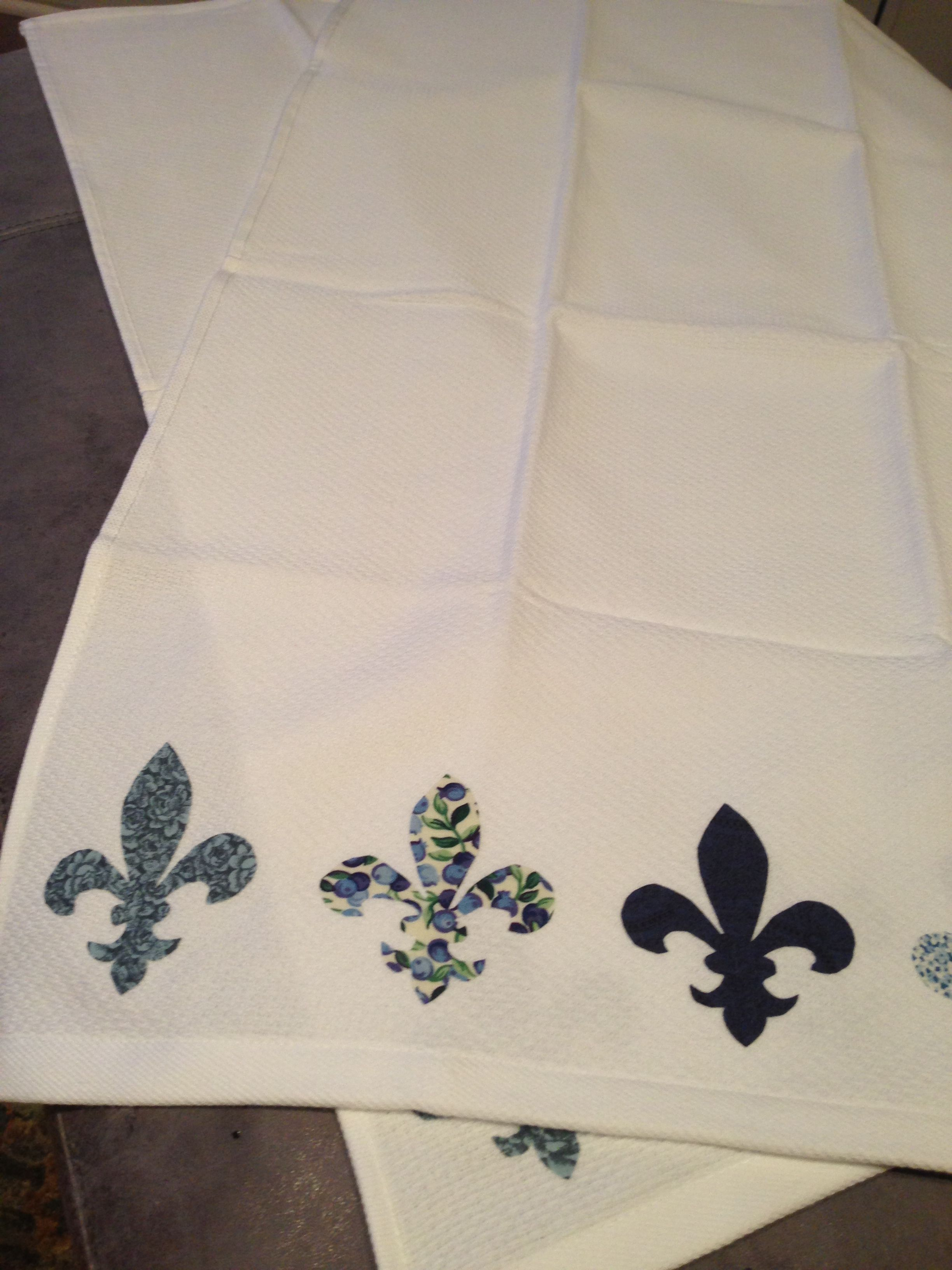 Fleur De Lis Diy Kitchen Towels Homespun Crafts Homemade Christmas