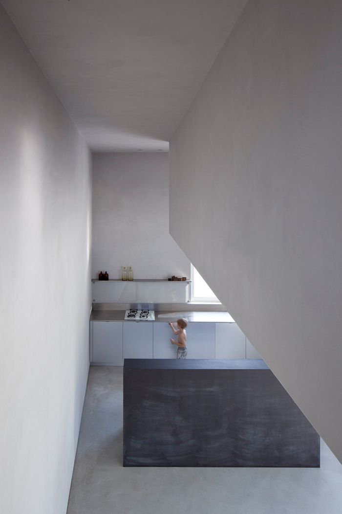 'kitchen block'... monochrome-minimal-kitchen by; Itai Parizki + Paola Liani  Architects