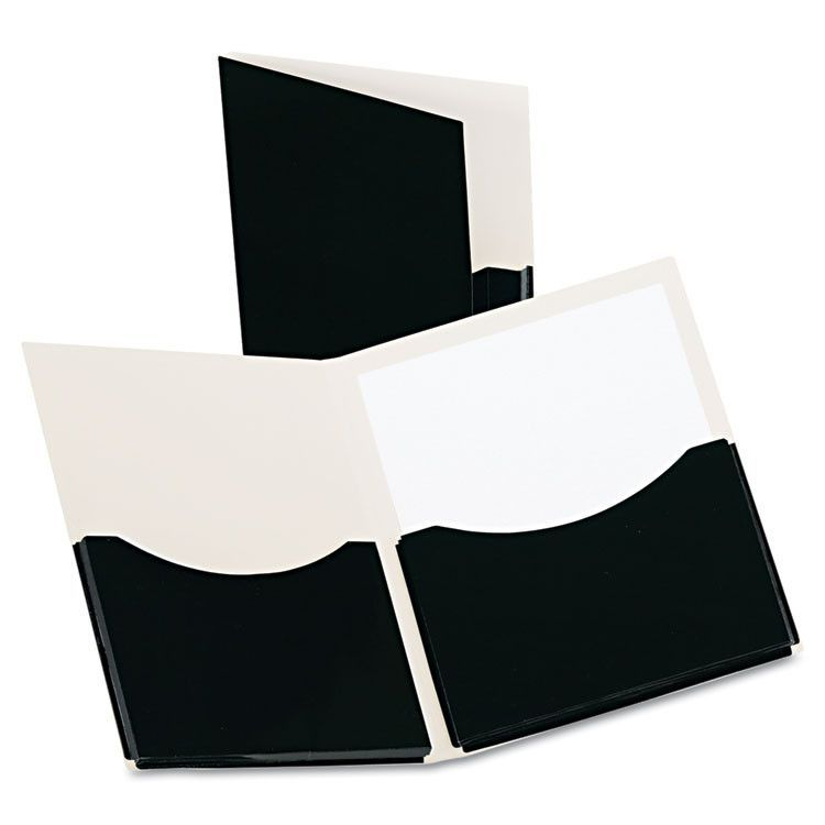 Double Stuff Gusseted 2-Pocket Laminated Paper Folder, 200-Sheet Capacity, Black
