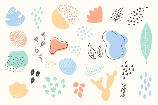 Hand Drawn Abstract Organic Shapes Background Hand
