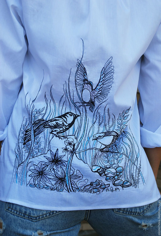 Купить Белая вышитая блуза