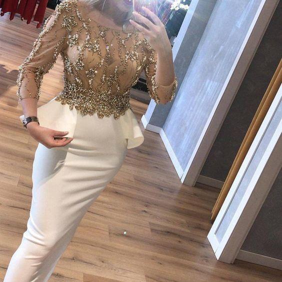 white evening dresses long crystals mermaid elegant beaded modest evening gown vestido de longo -   12 dress Hijab evening ideas