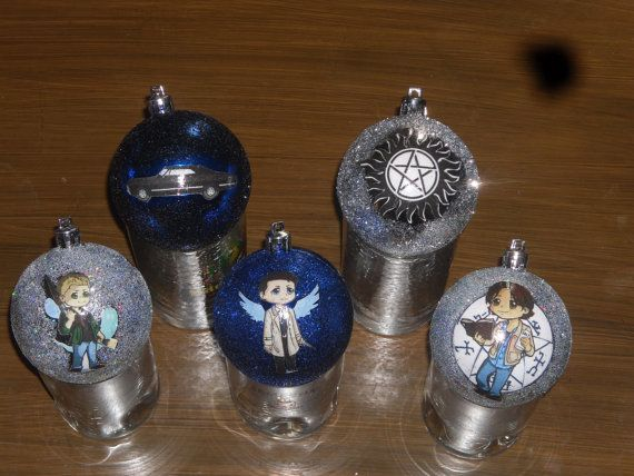 5 pack Supernatural Christmas Ornaments on Etsy, $20.00 - 5 Pack Supernatural Christmas Ornaments On Etsy, $20.00 Ta Da